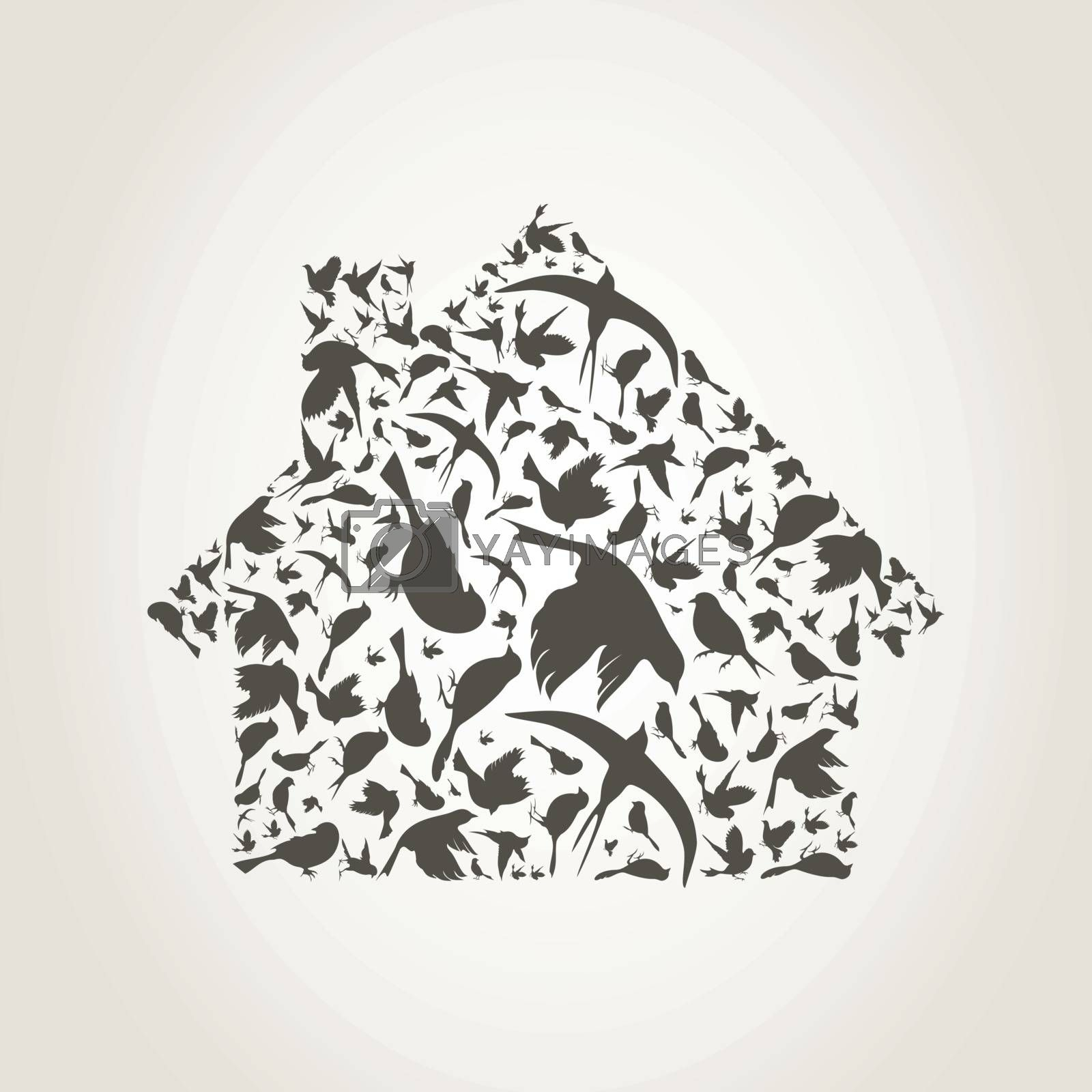 The house made of birds. A vector illustration