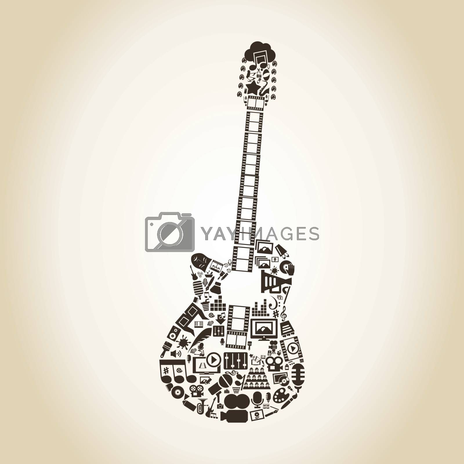 Guitar made of art. A vector illustration