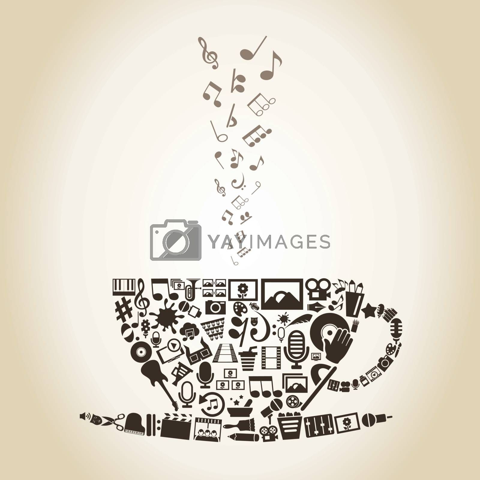 Cup made of art. A vector illustration