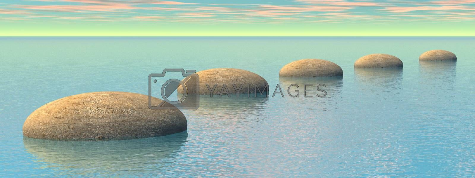 Grey stones steps upon the ocean by pink and green - 3D render
