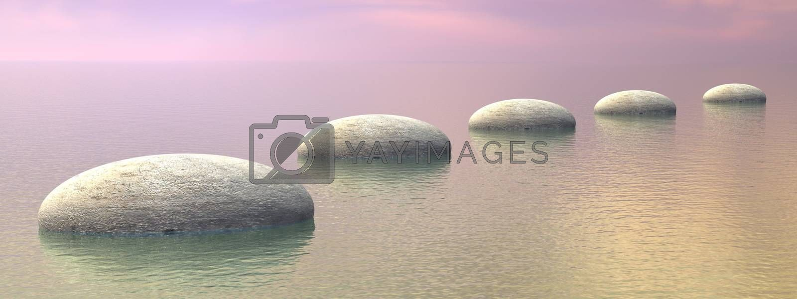 Grey stones steps upon the ocean by brown sunset - 3D render
