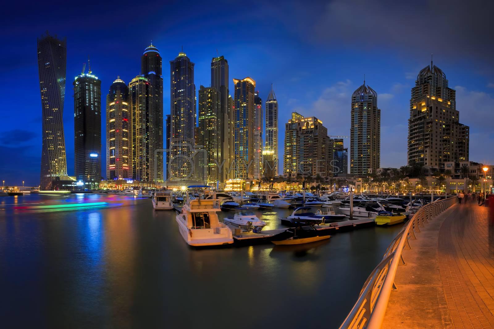 Skyline sunset picture shot at Dubai marina