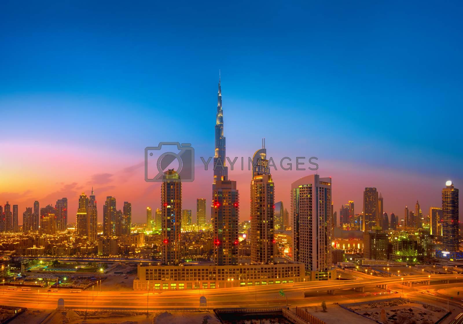 Dubai Skyline photographed during the golden hour