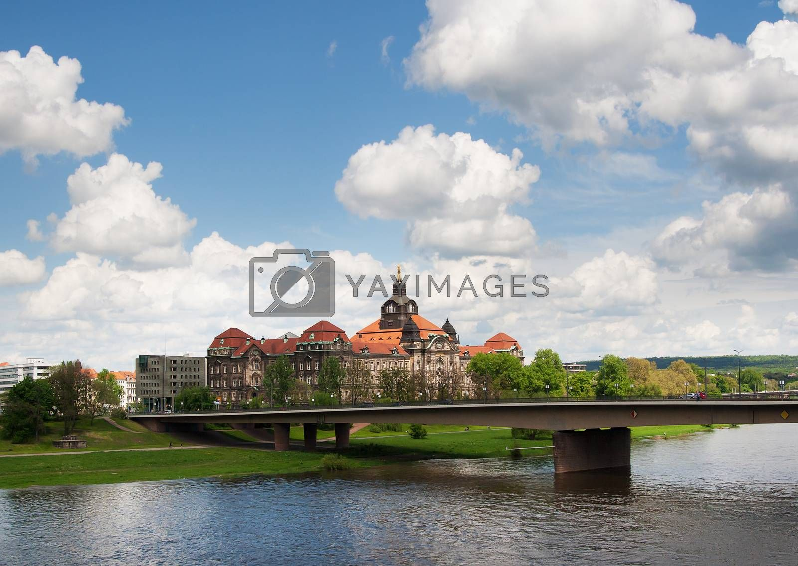 Royalty free image of Panoramic view of Dresden and the river Elbe by sfinks