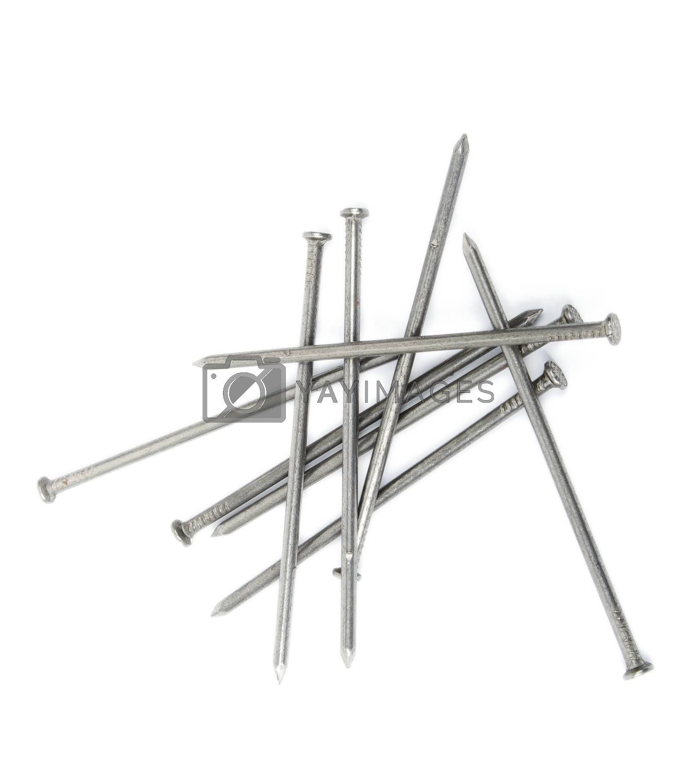 An image of Iron nails on white background