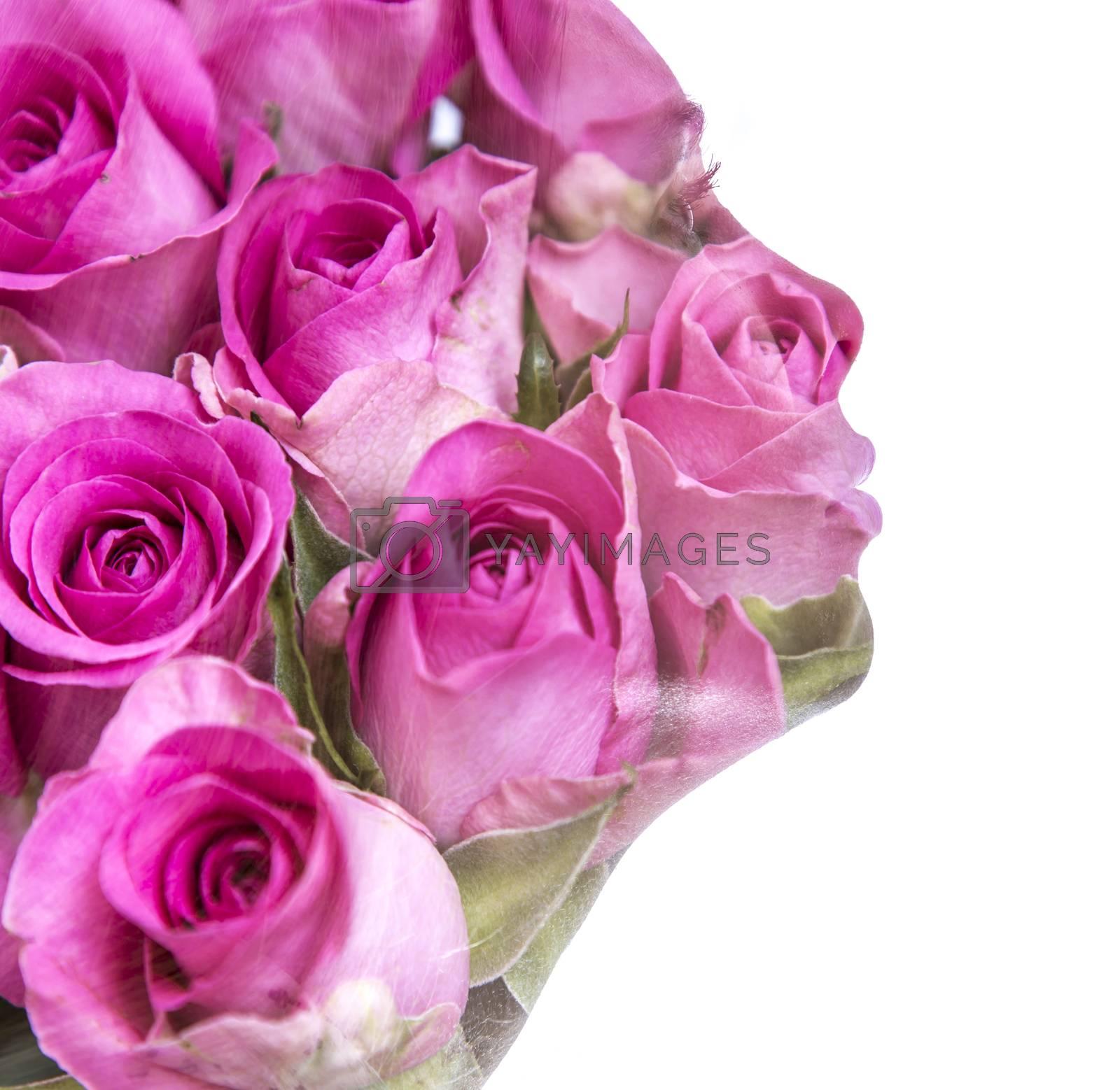 Female Silhouette of Roses