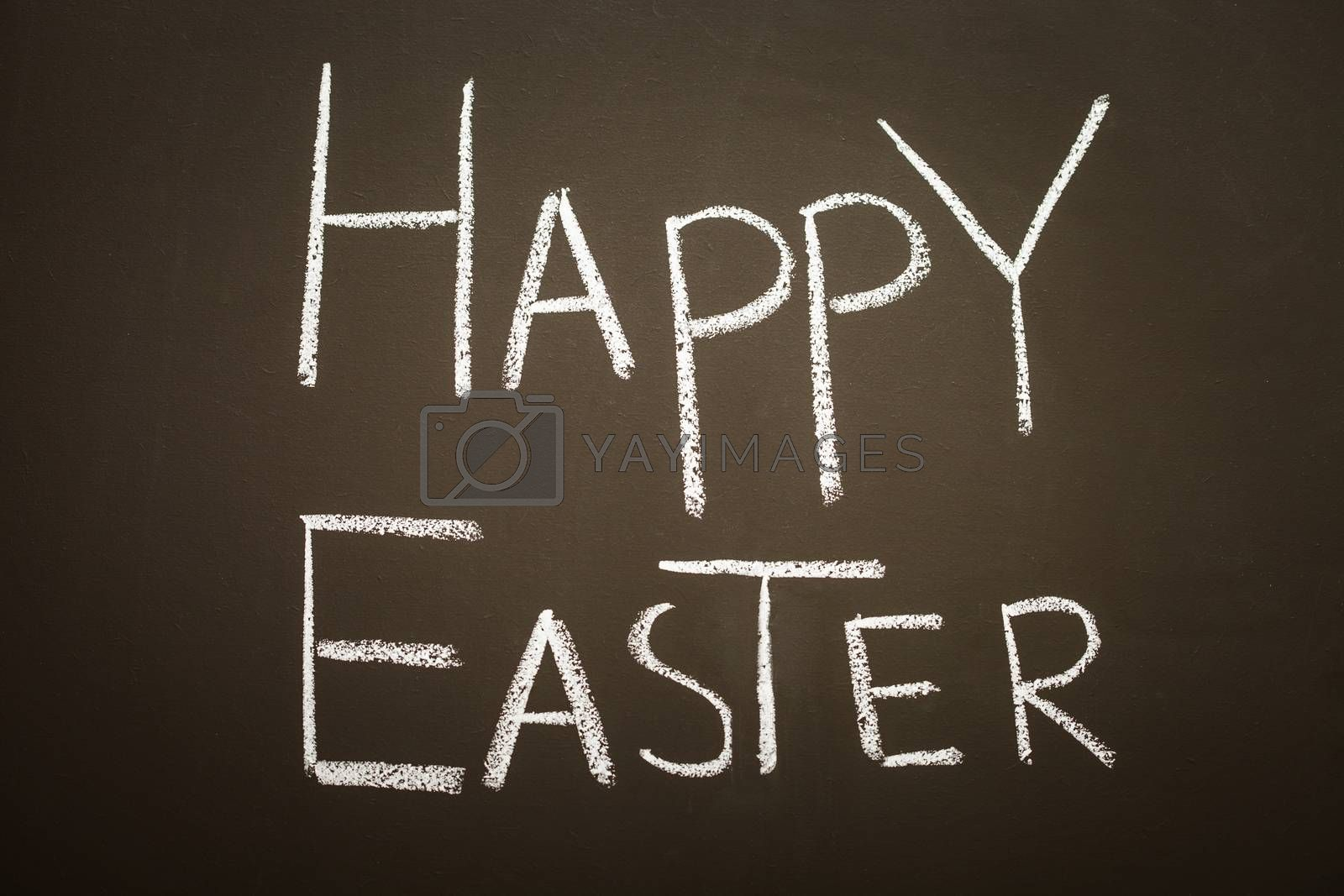 Easter greetings on a blackboard