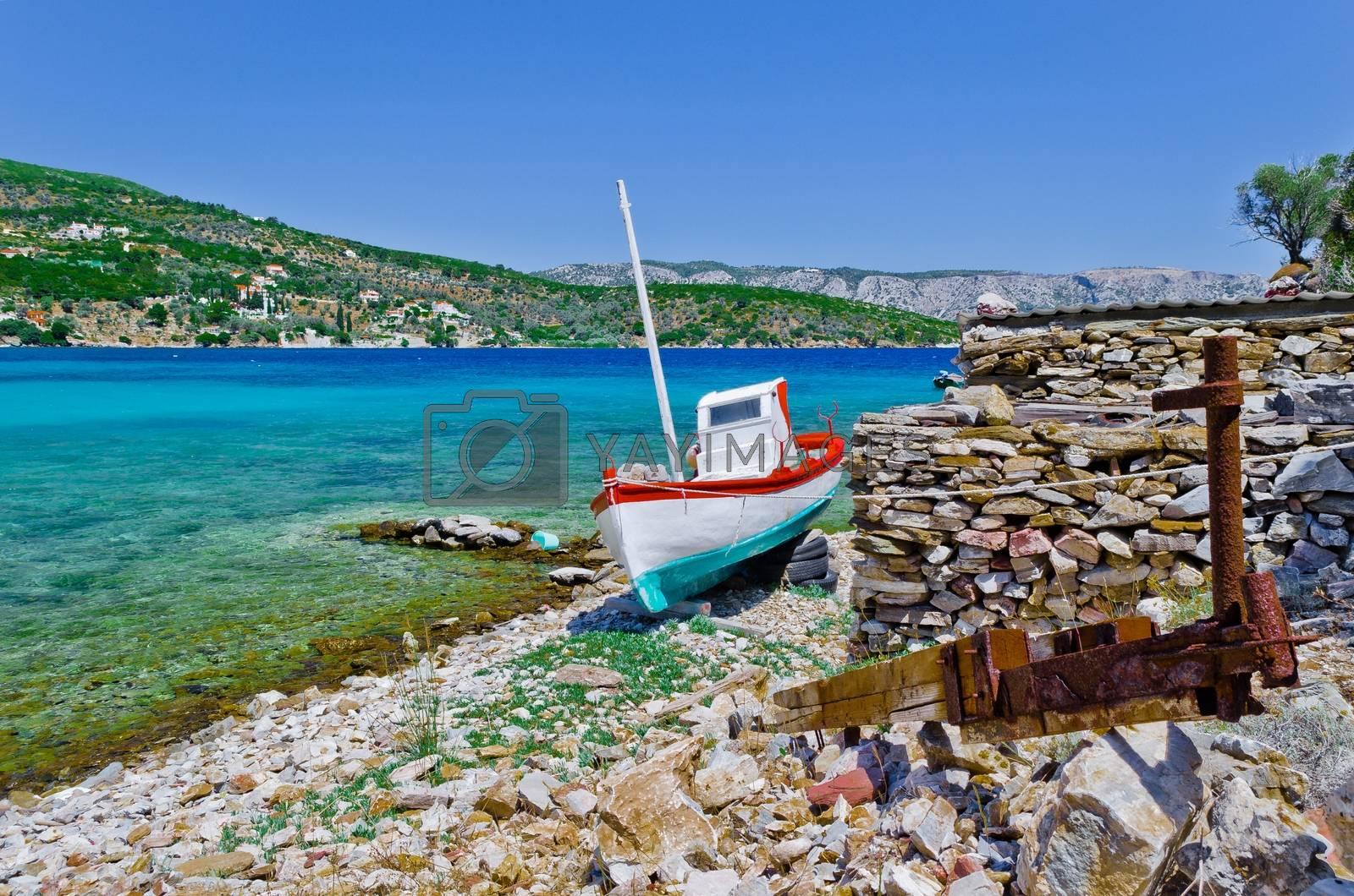 Fishing boat on the aegean island Samos