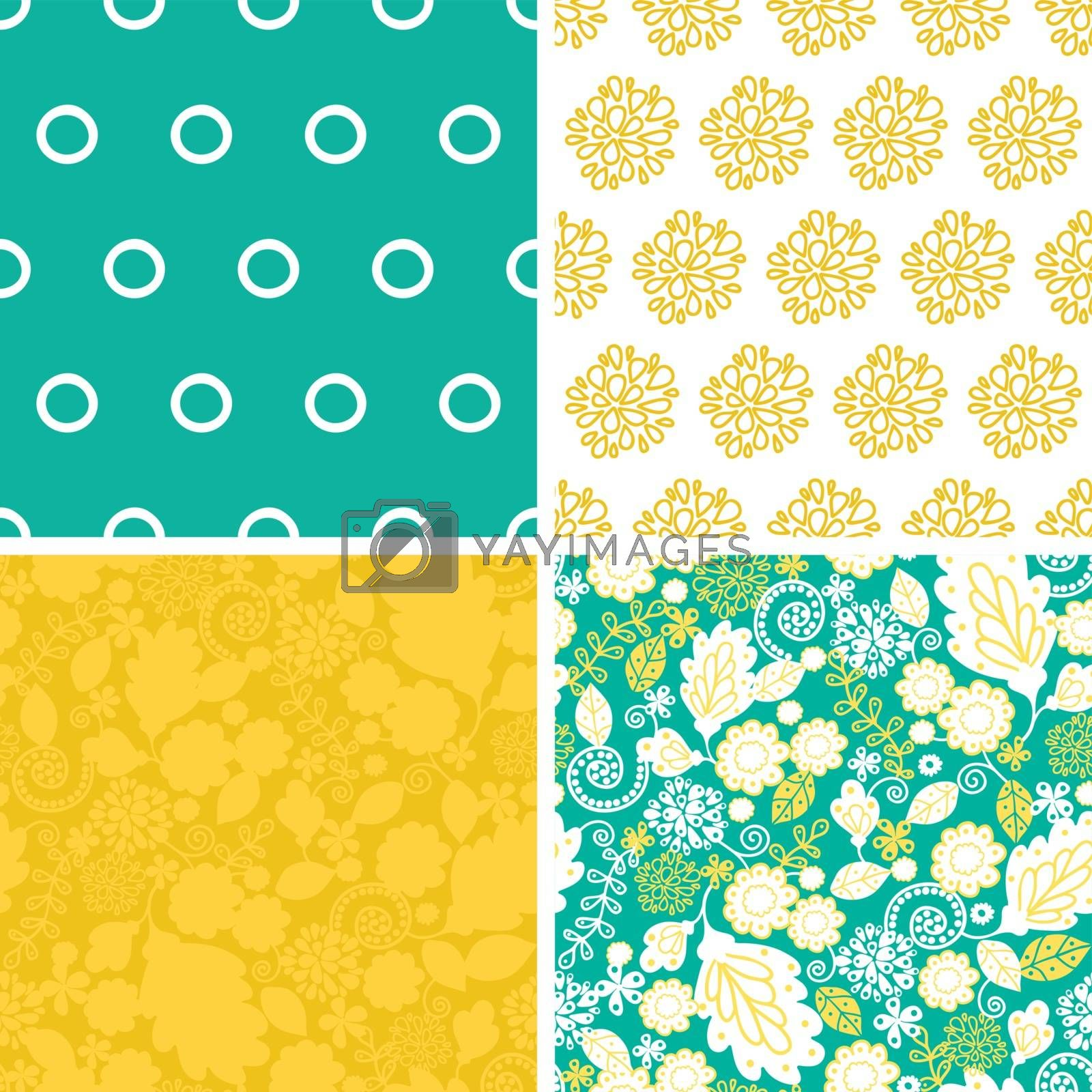Vector emerald flowerals set of four marching repeat patterns backgrounds graphic design