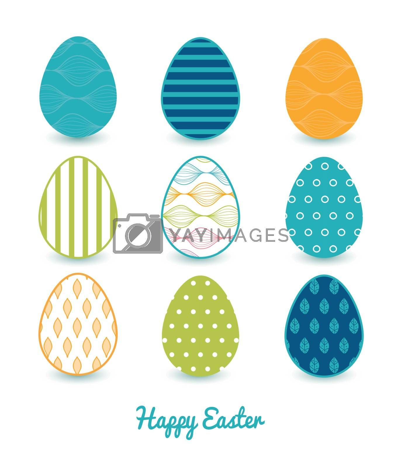Vector colorful horizontal ogee set of nine colorful Easter eggs card template graphic design
