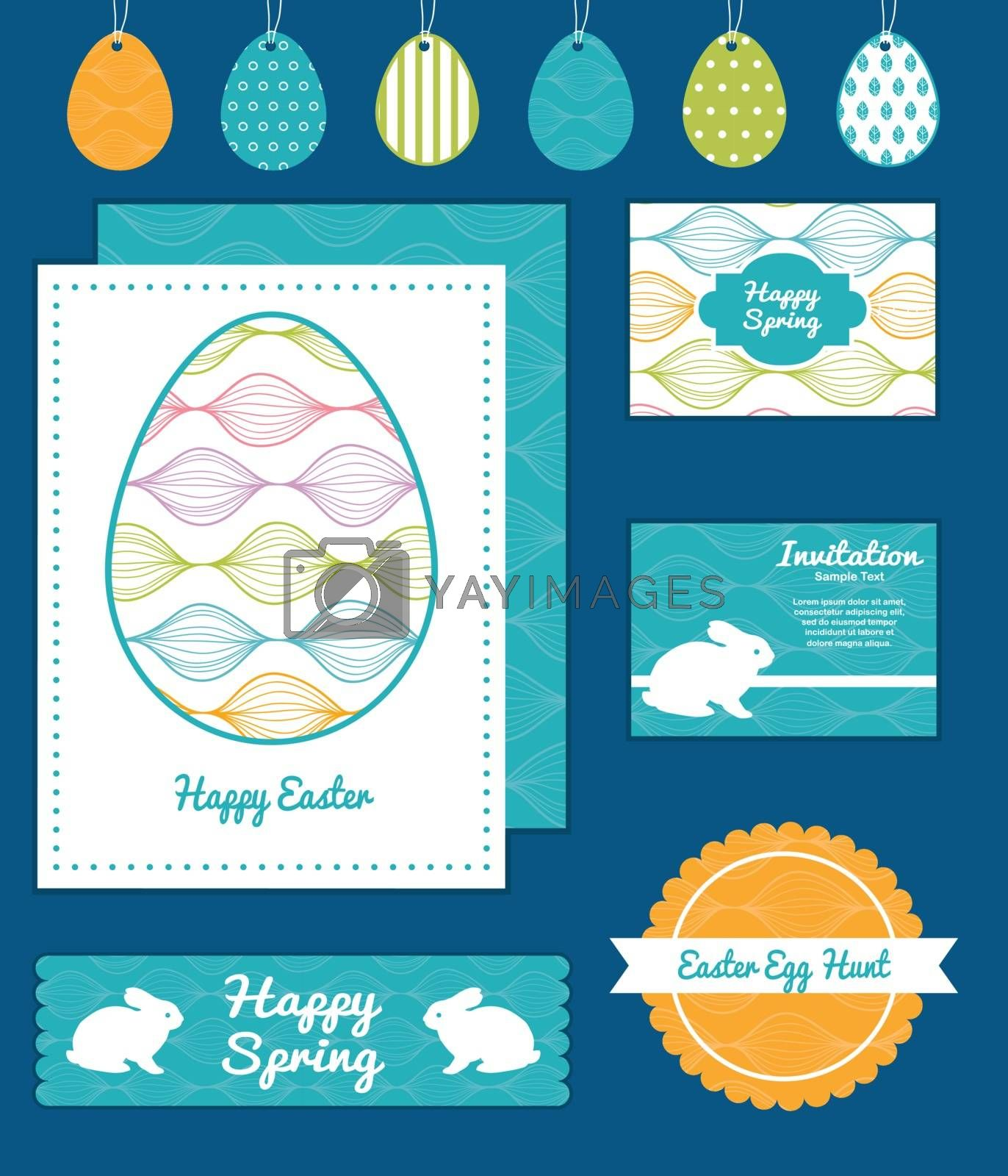Vector colorful horizontal ogee set of Easter cards, labels, tags and banners templates graphic design