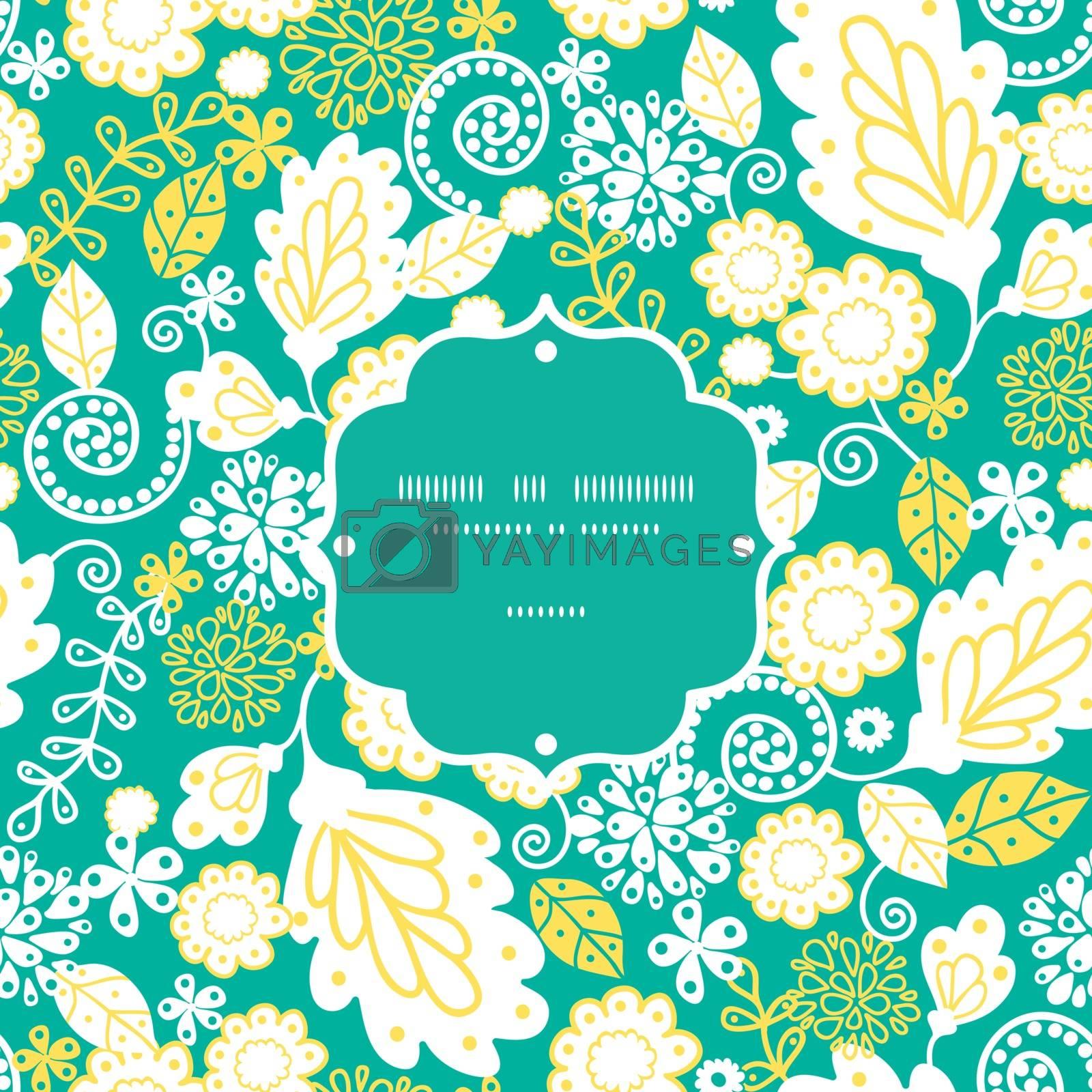 Vector emerald flowerals frame seamless pattern background graphic design