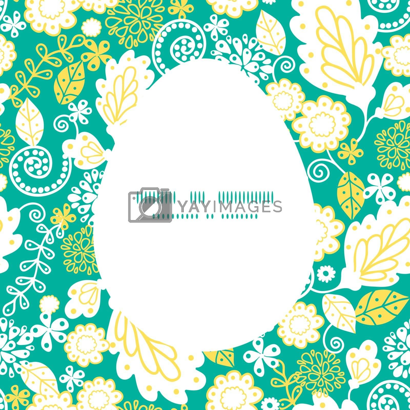 Vector emerald flowerals Easter egg sillhouette frame card template graphic design