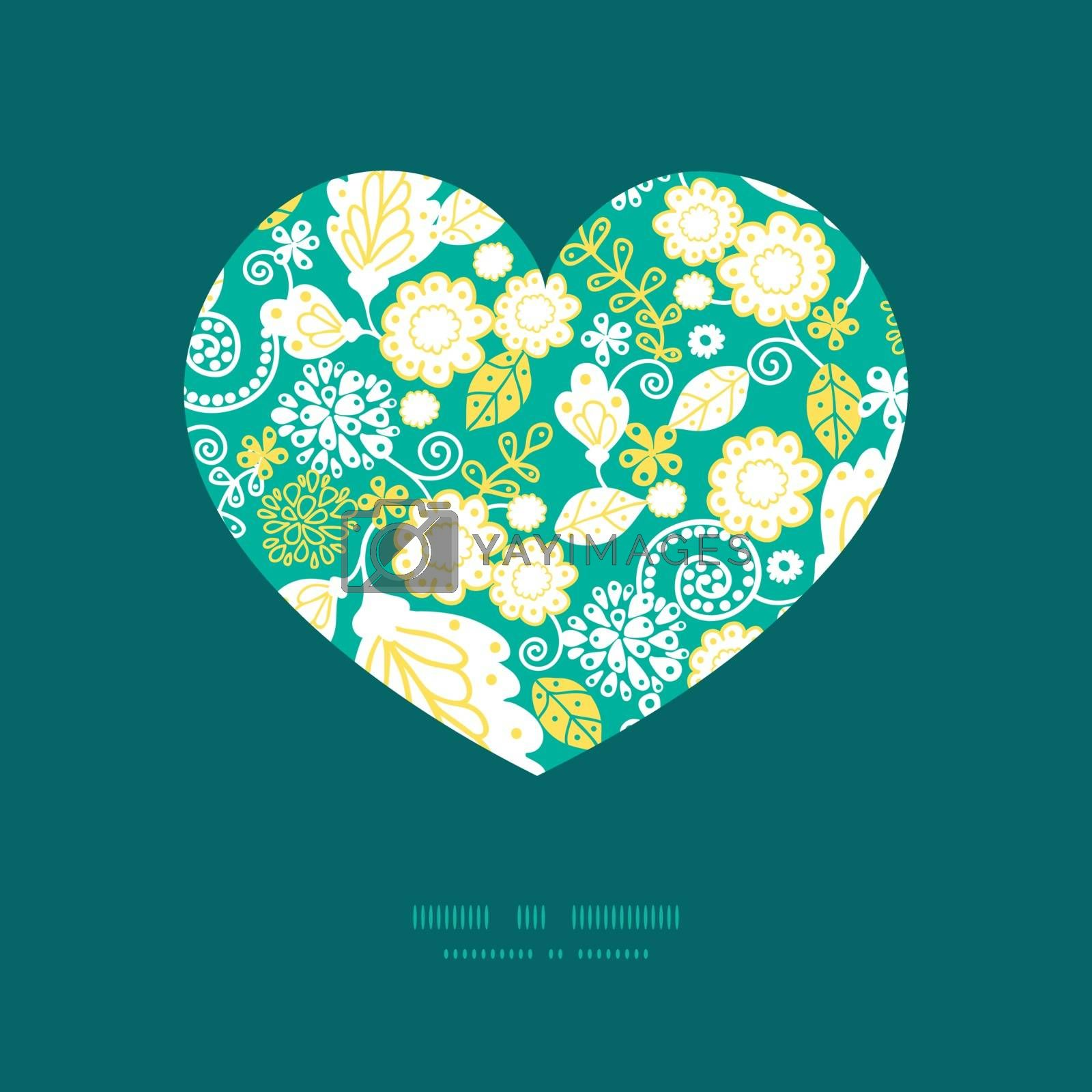 Vector emerald flowerals heart silhouette pattern frame graphic design
