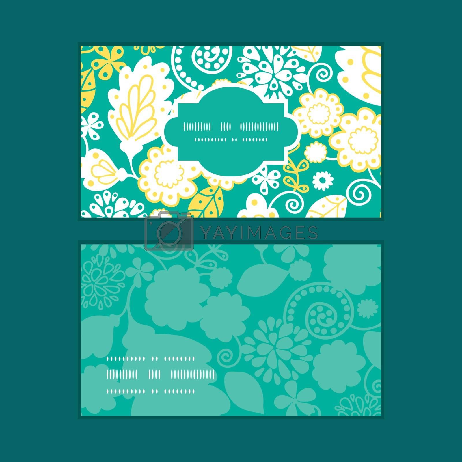 Vector emerald flowerals horizontal frame pattern business cards set graphic design