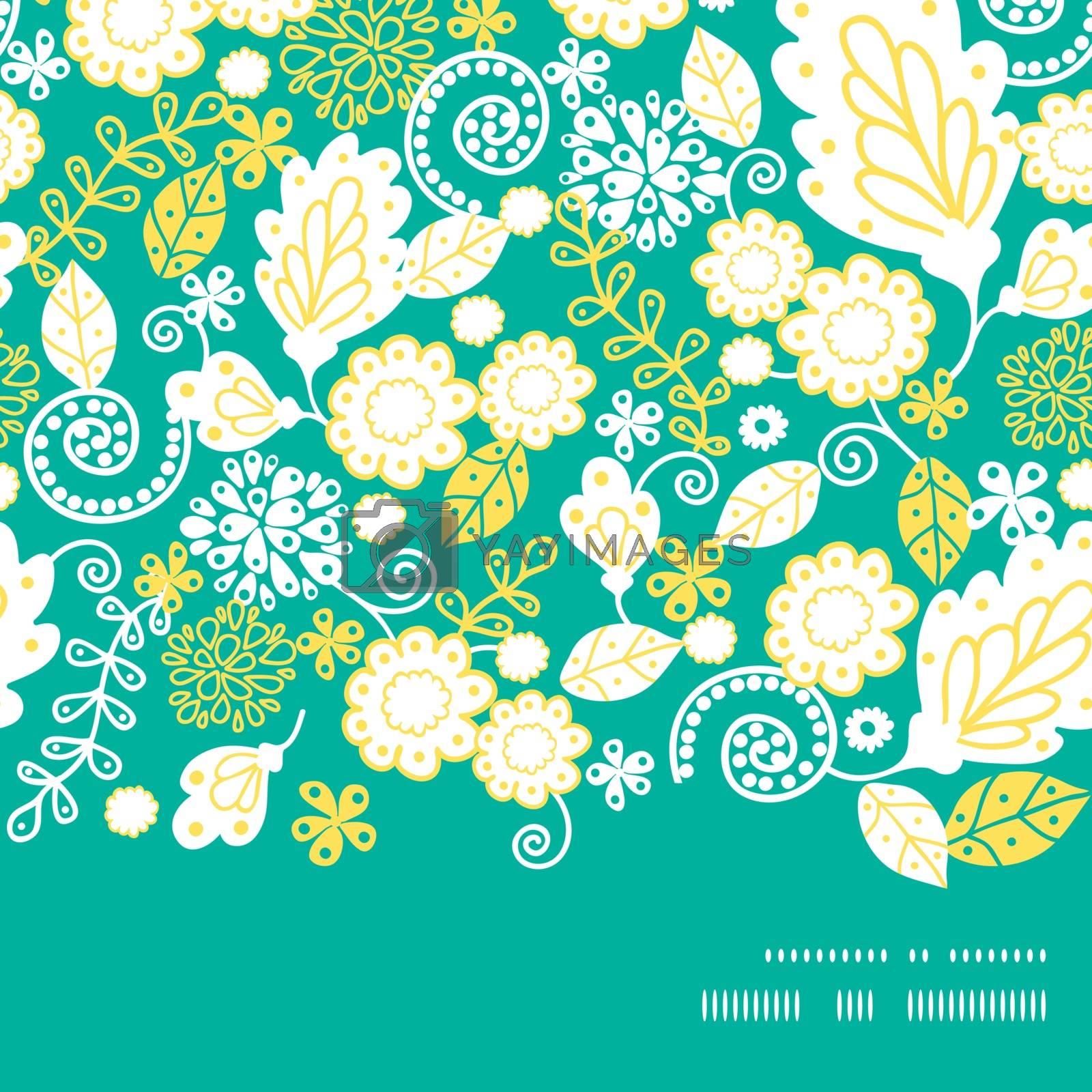 Vector emerald flowerals horizontal frame seamless pattern background graphic design