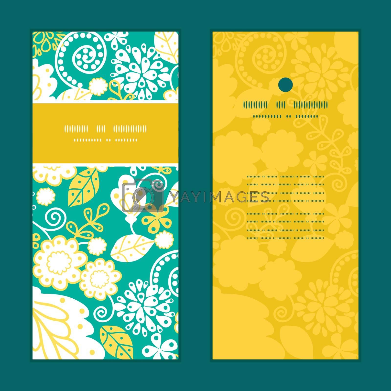 Vector emerald flowerals vertical frame pattern invitation greeting cards set graphic design