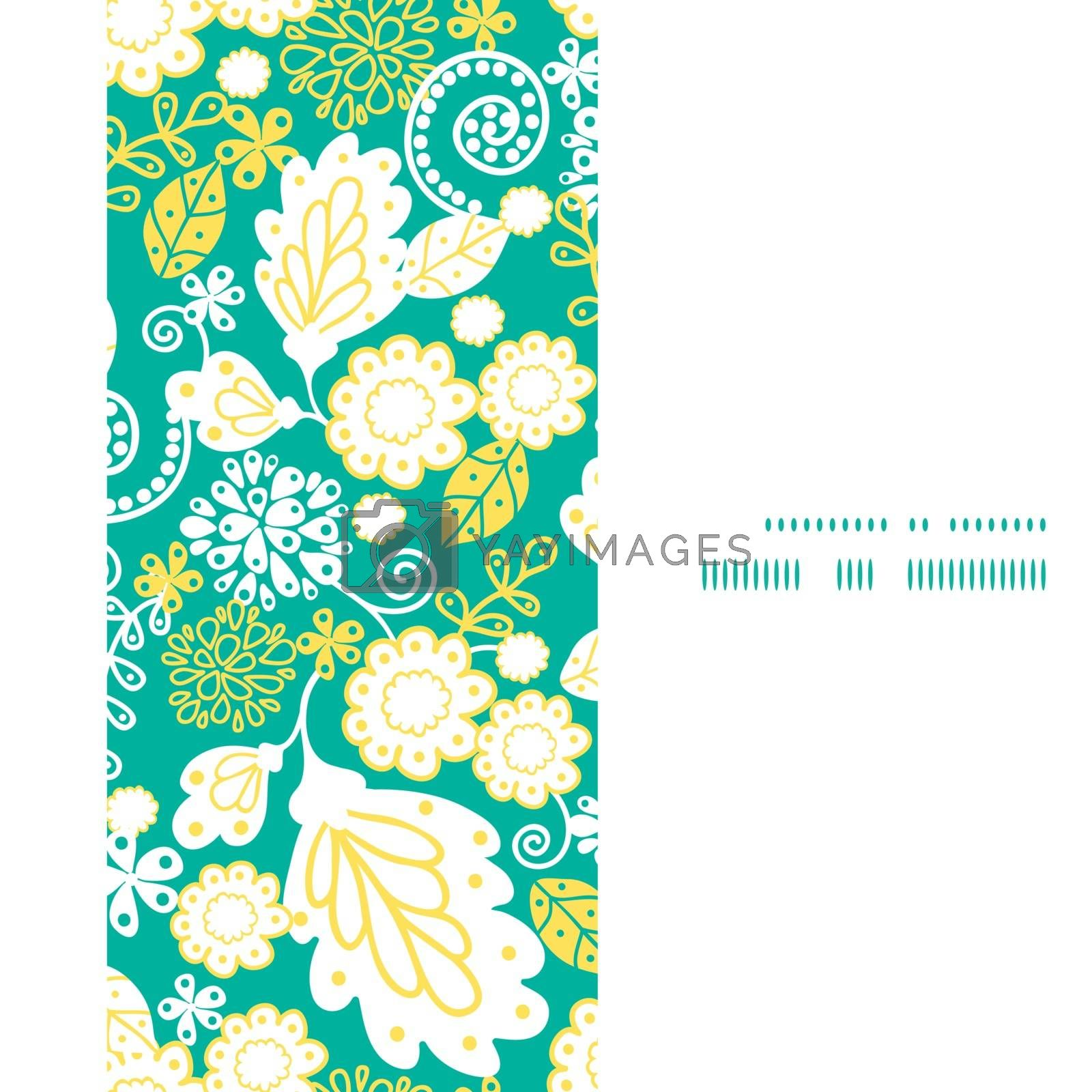 Vector emerald flowerals vertical frame seamless pattern background graphic design