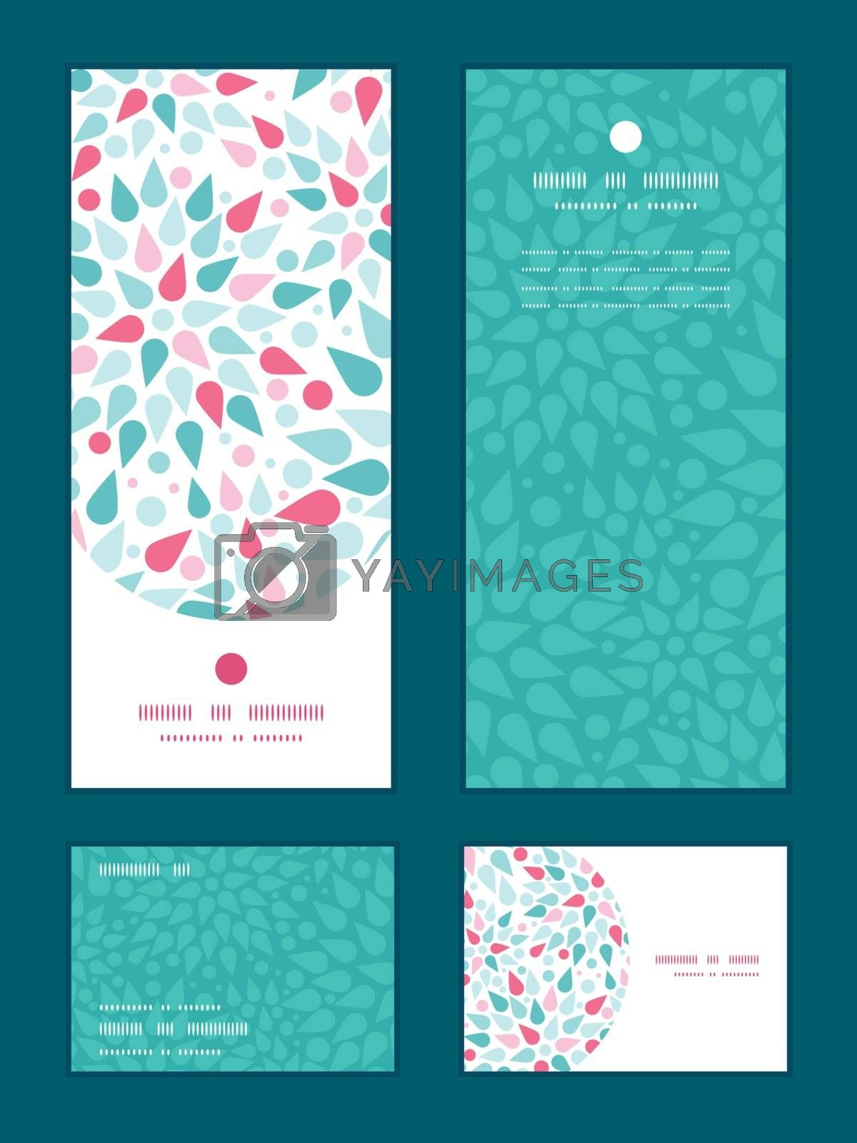 Vector abstract colorful drops vertical frame pattern invitation greeting, RSVP and thank you cards set graphic design