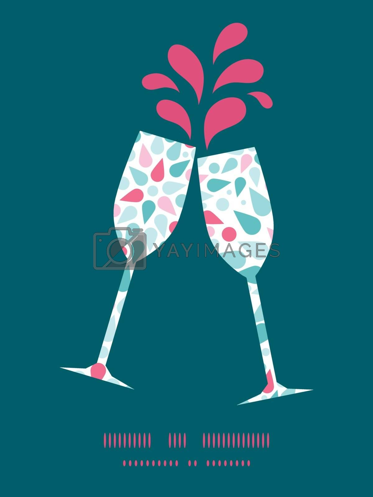 Vector abstract colorful drops toasting wine glasses silhouettes pattern frame graphic design