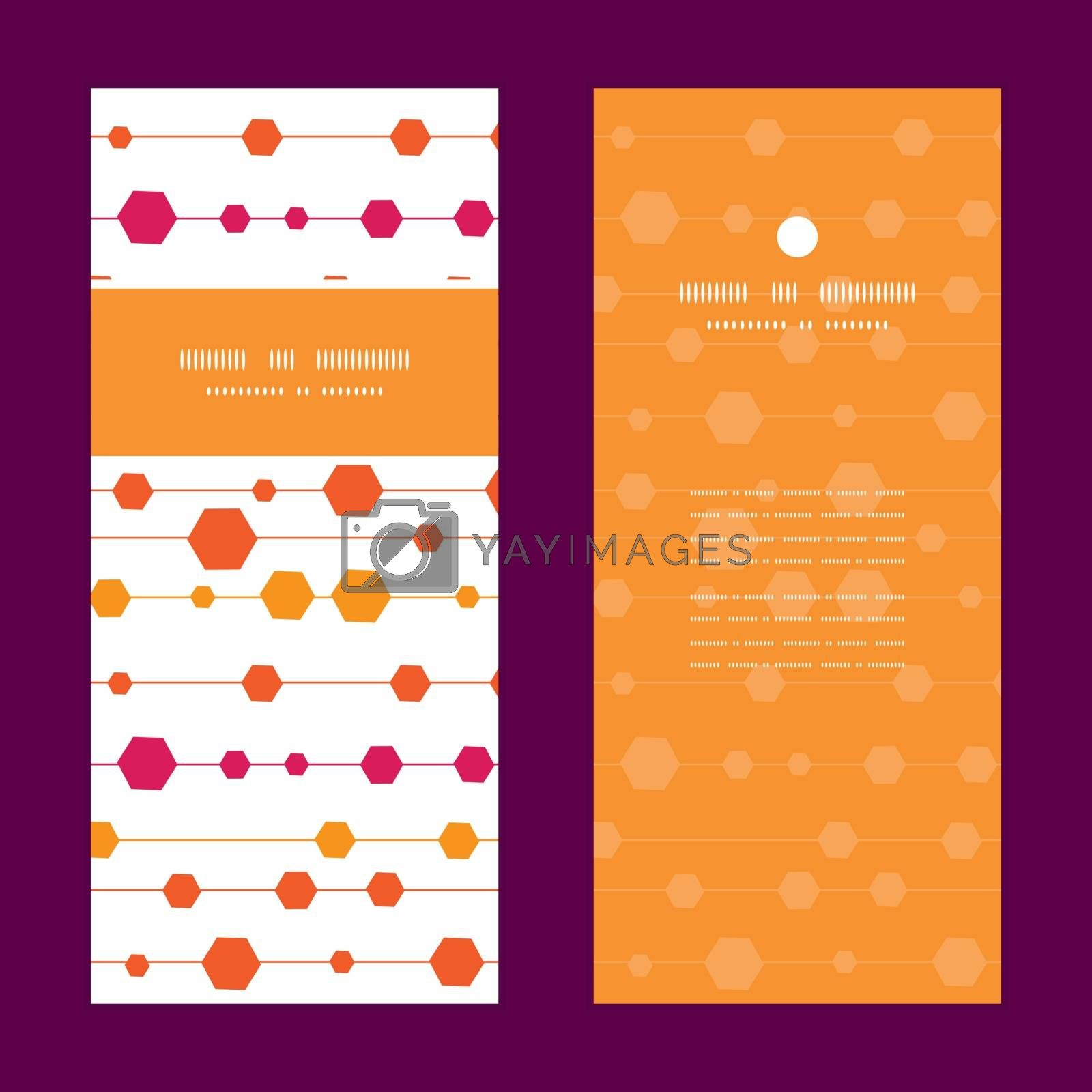 Vector abstract colorful stripes and shapes vertical frame pattern invitation greeting cards set graphic design