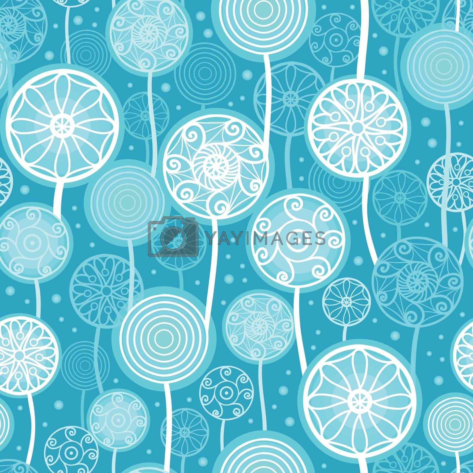 Vector Abstract Dandelion Plants Seamless Pattern Background with hand drawn, oval decorative shapes on blue background.