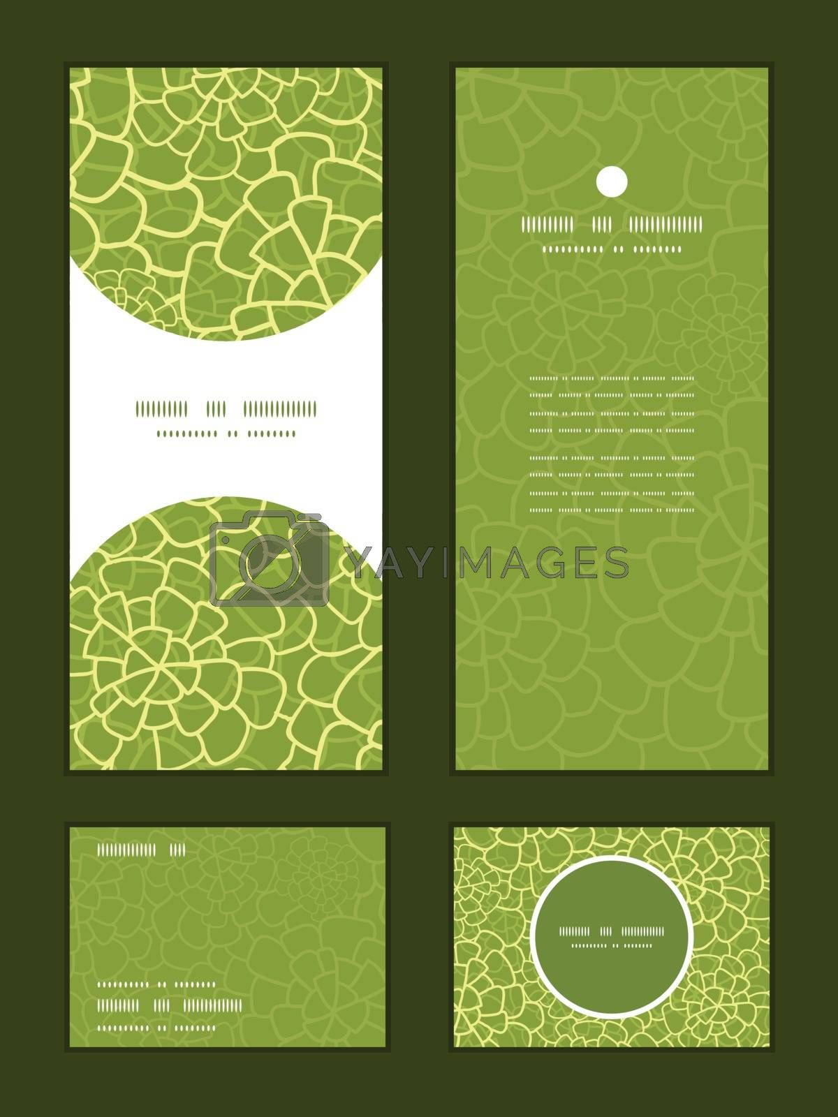 Vector abstract green natural texture vertical frame pattern invitation greeting, RSVP and thank you cards set graphic design