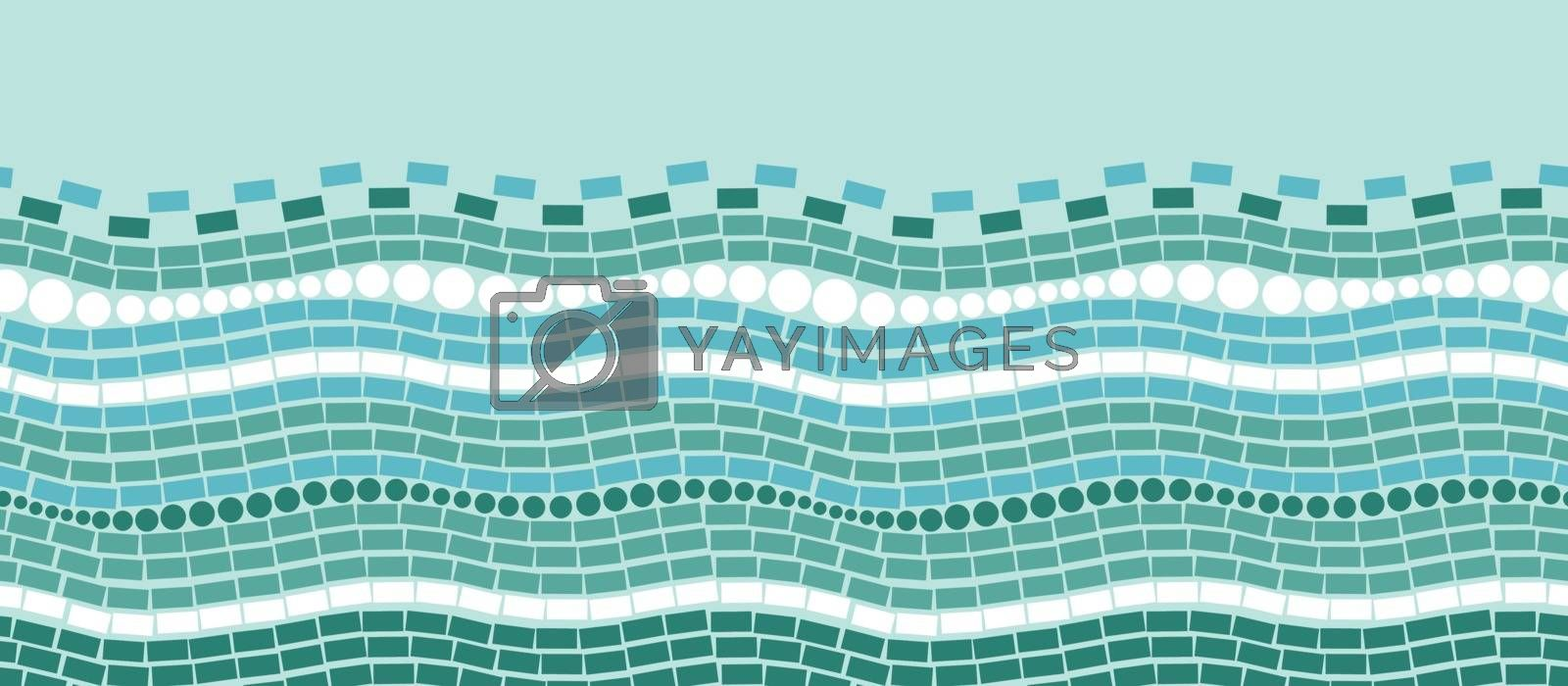Vector Abstract ice chrystals texture horizontal seamless ornament pattern background with many blue triangular shapes