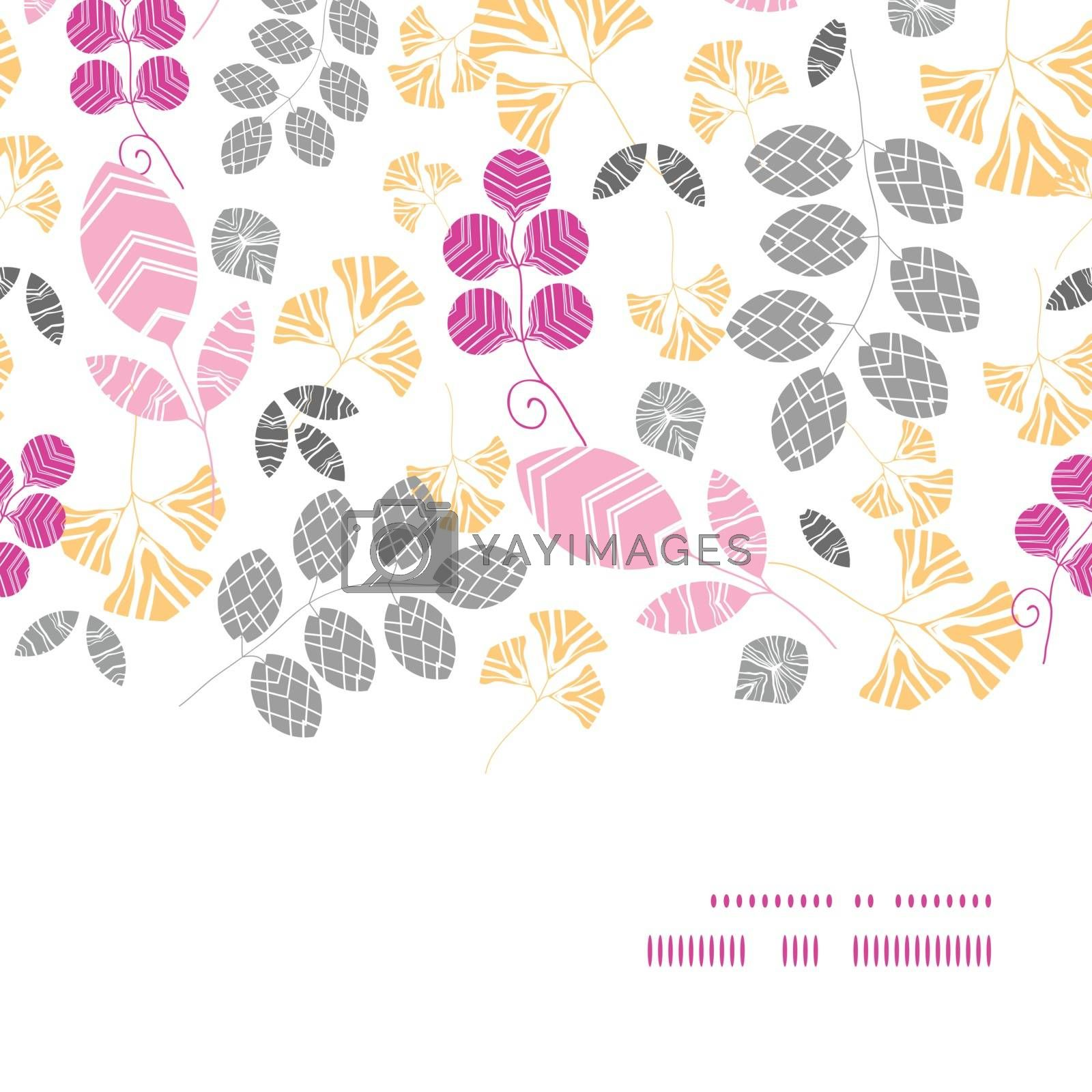 Vector abstract pink, yellow and gray leaves horizontal frame seamless pattern background graphic design
