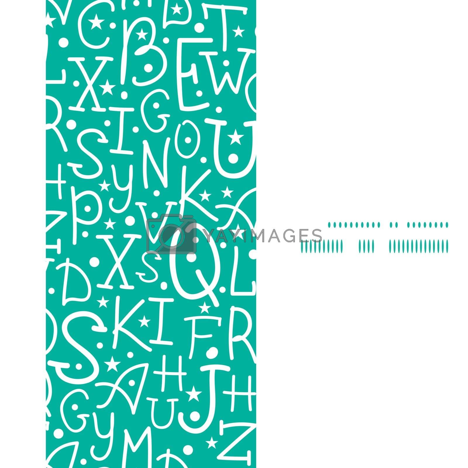 Vector white on green alphabet letters vertical frame seamless pattern background graphic design