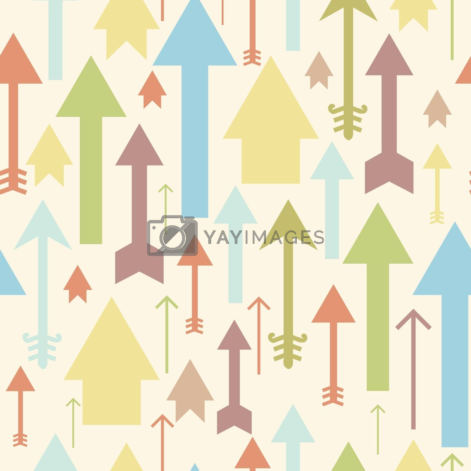 Vector arrows pointing up seamless pattern background with hand drawn elements