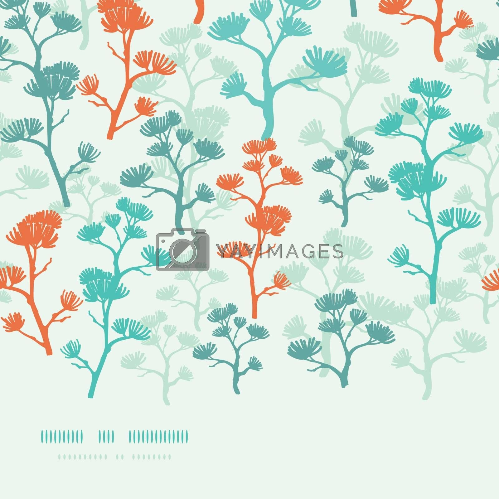 Vector abstract oriental trees frame horizontal seamless pattern background with hand drawn elements.