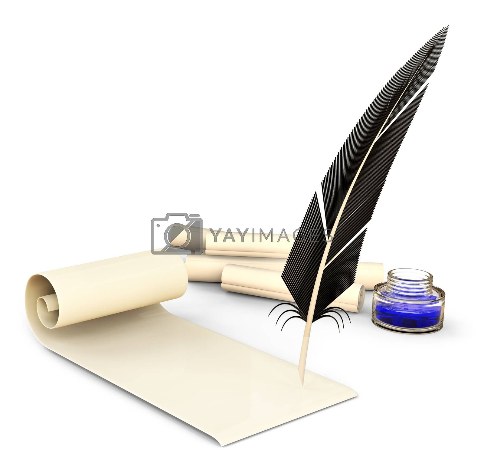 old-fashioned feather with ink and blank scrolls for writing business correspondence letters at old times