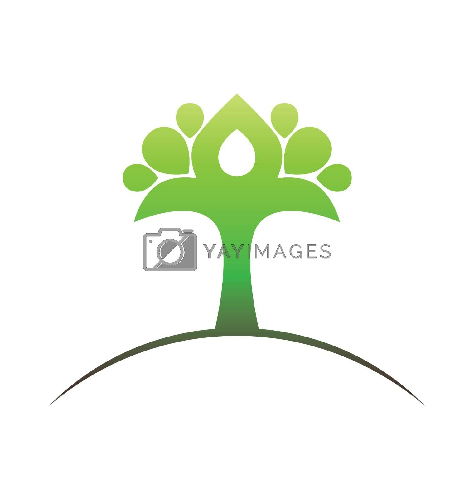 Abstract and stylized green tree vector emblem design
