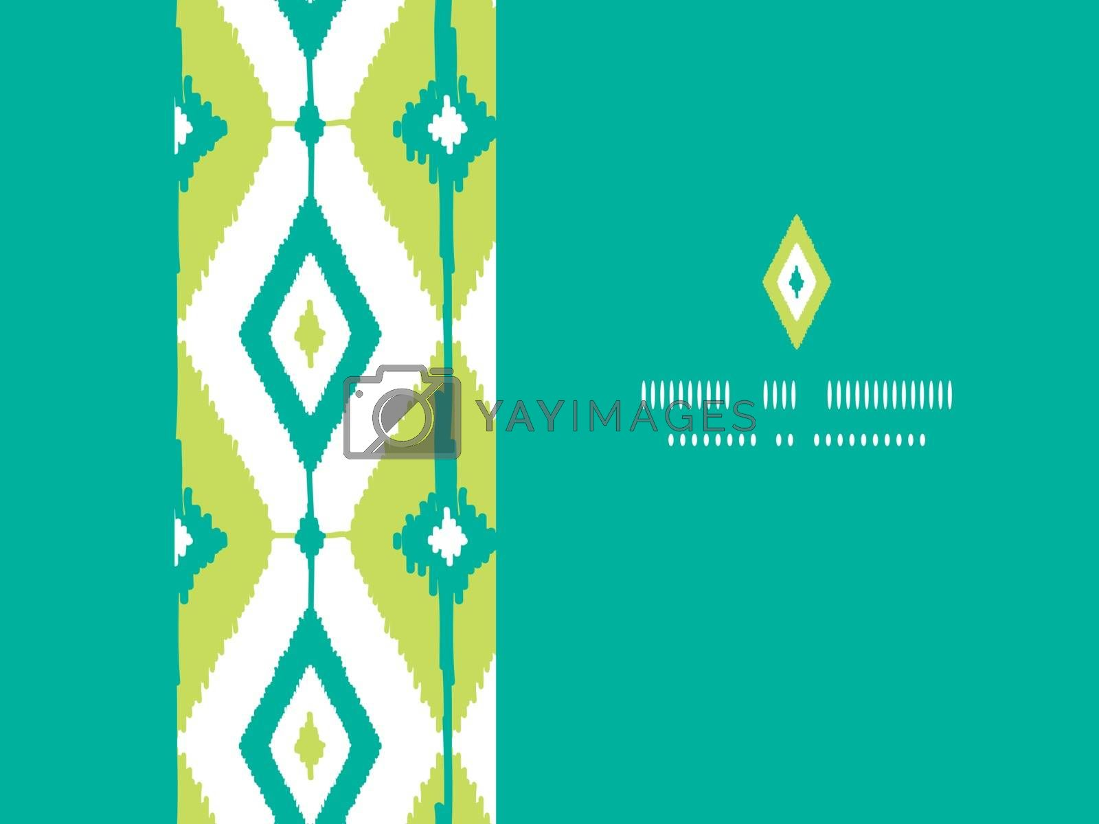 Vector emerald green ikat diamonds horizontal seamless patterns backgrounds with hand drawn elements