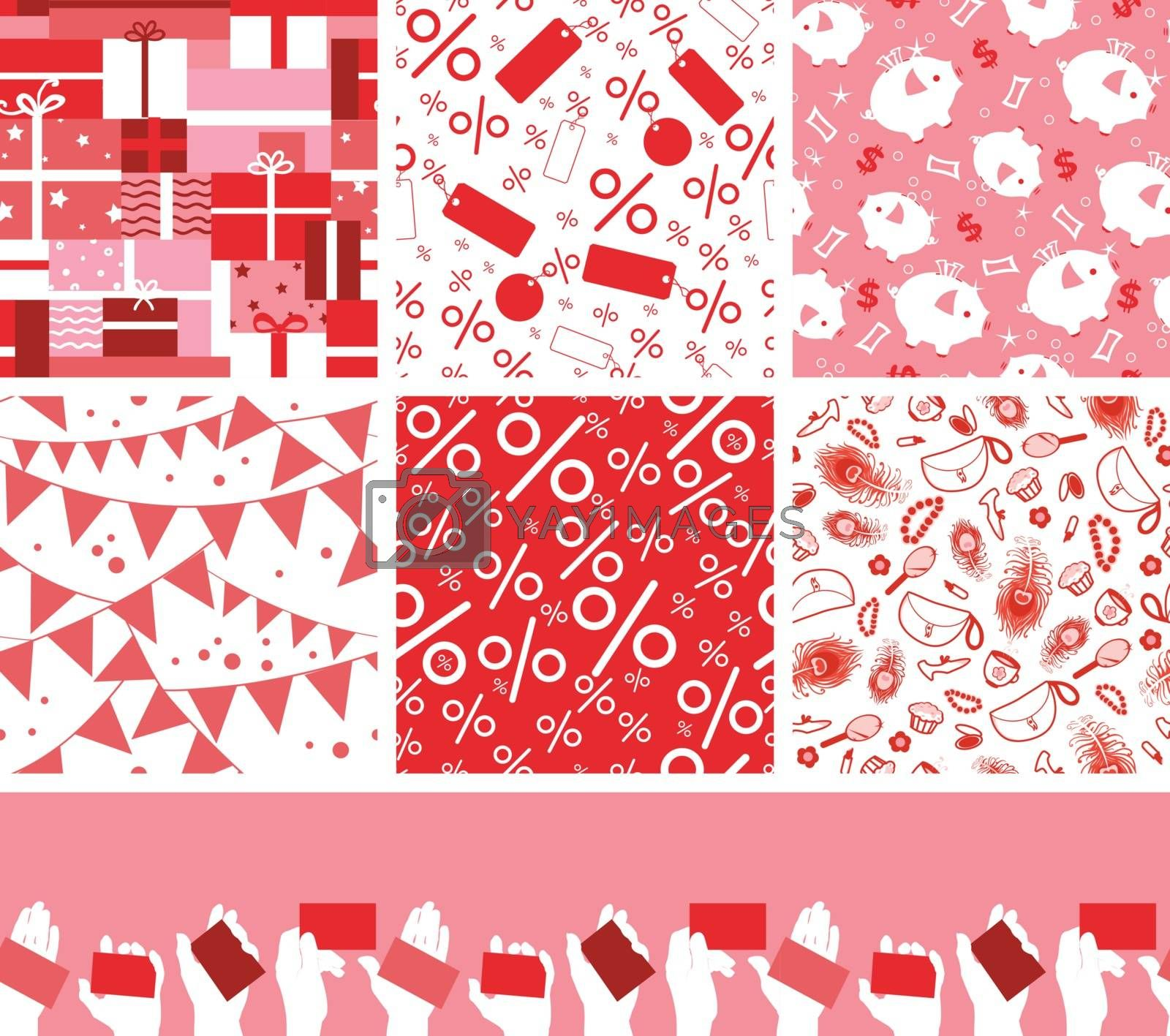 Vector set of seven sale and shopping seamless patterns backgrounds with hand drawn elements