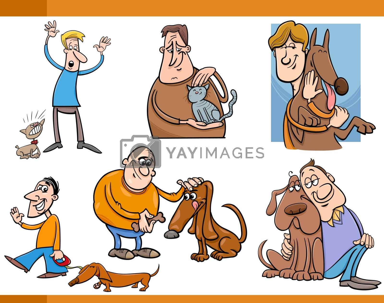 Cartoon Illustration of People with Pets Characters Set