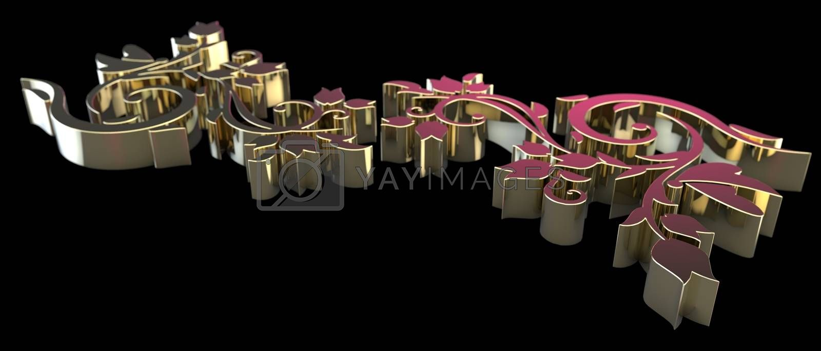 Golden forged floral ornament isolated on black background