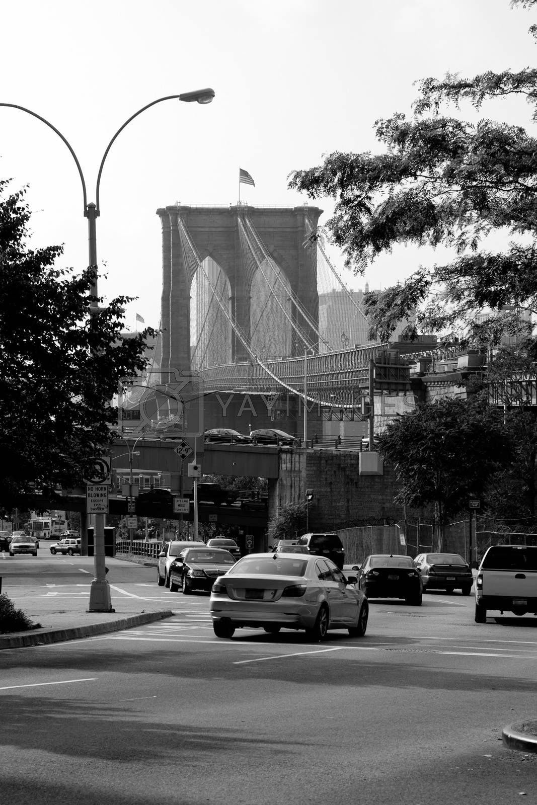 Brooklyn Bridge as seen from a rare street view in New York City.