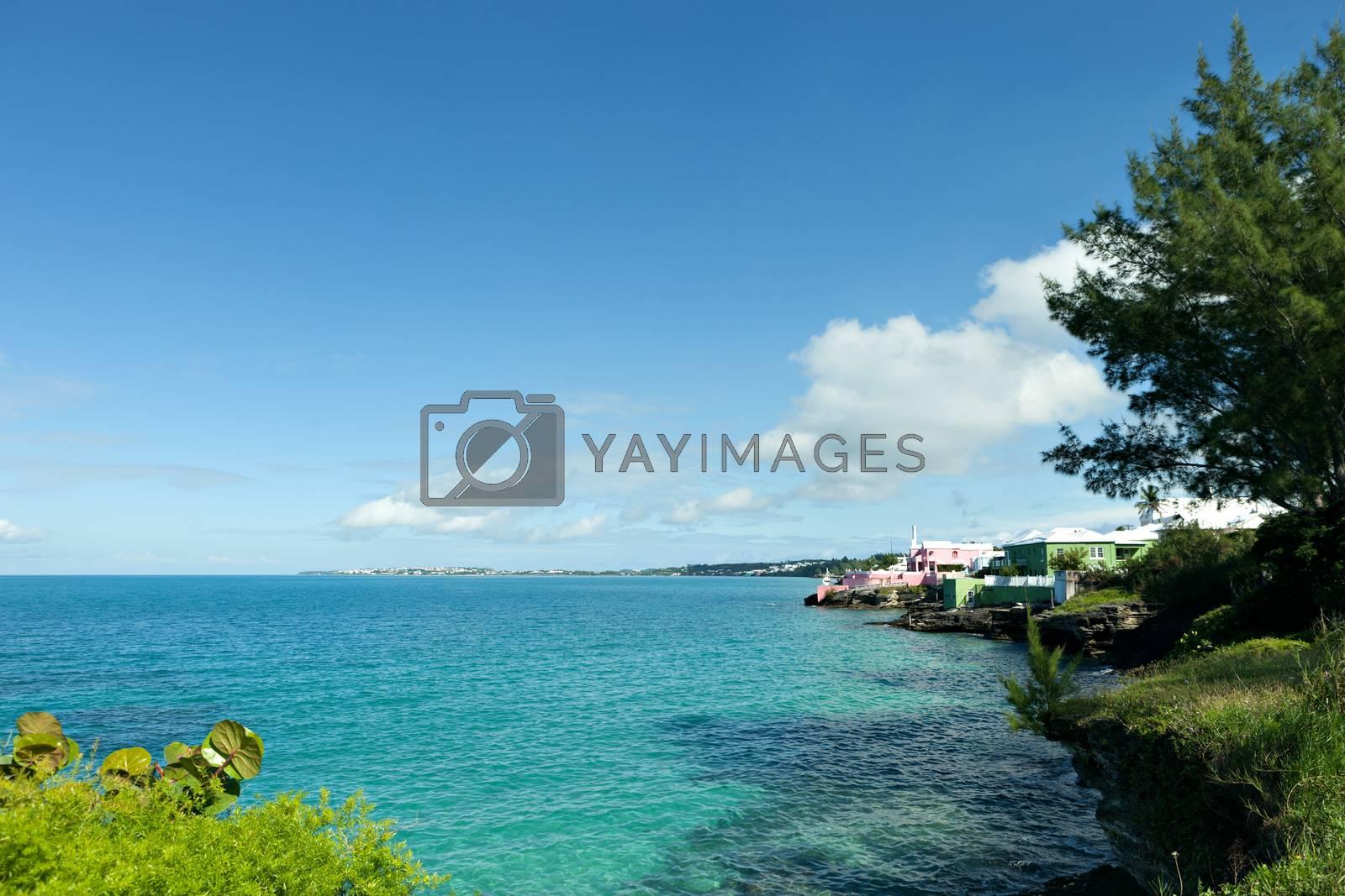 Bermuda coast with aqua blue tropical waters.