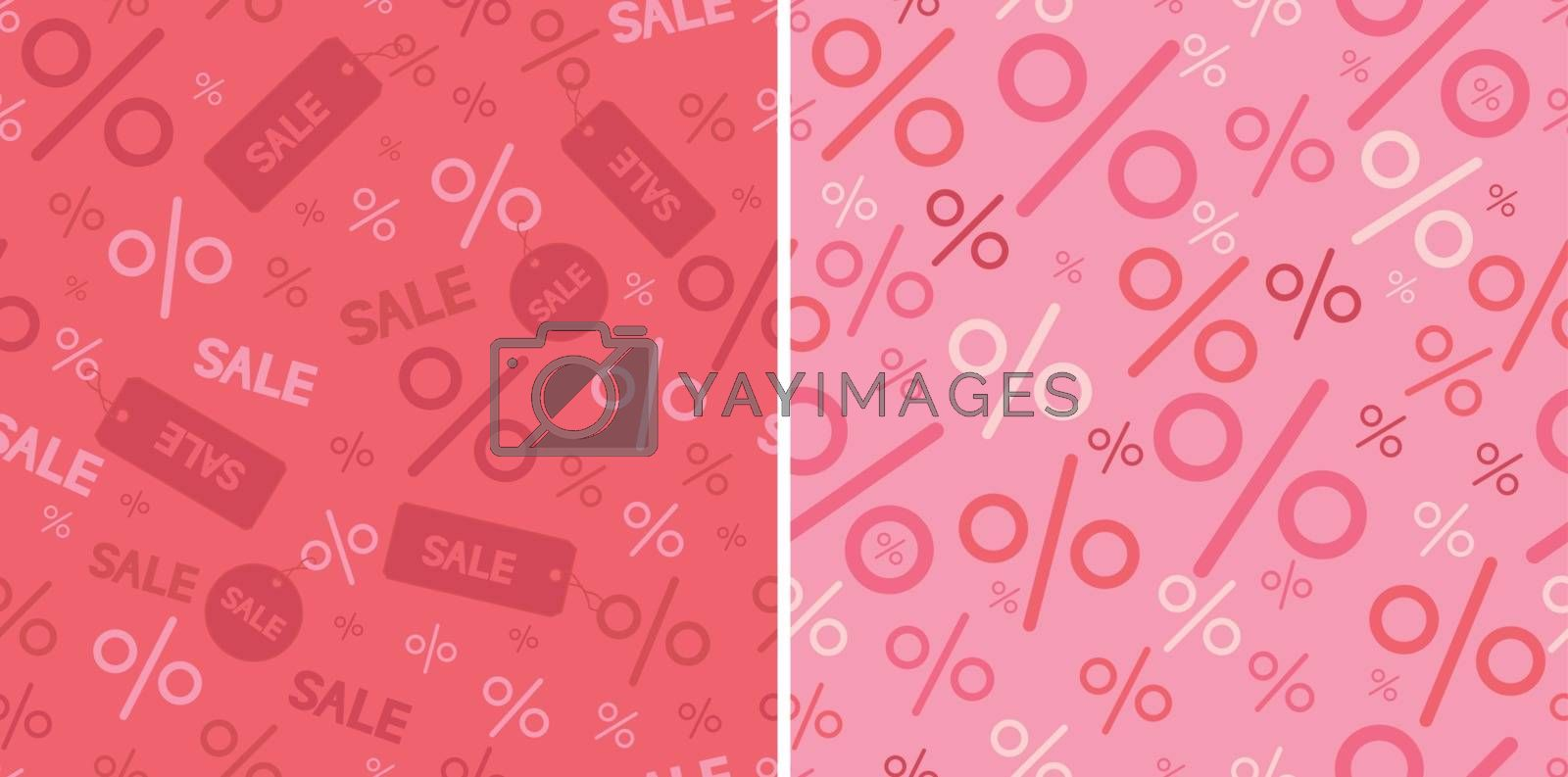 Vector percentage signs two seamless pattern backgrounds with hand drawn elements