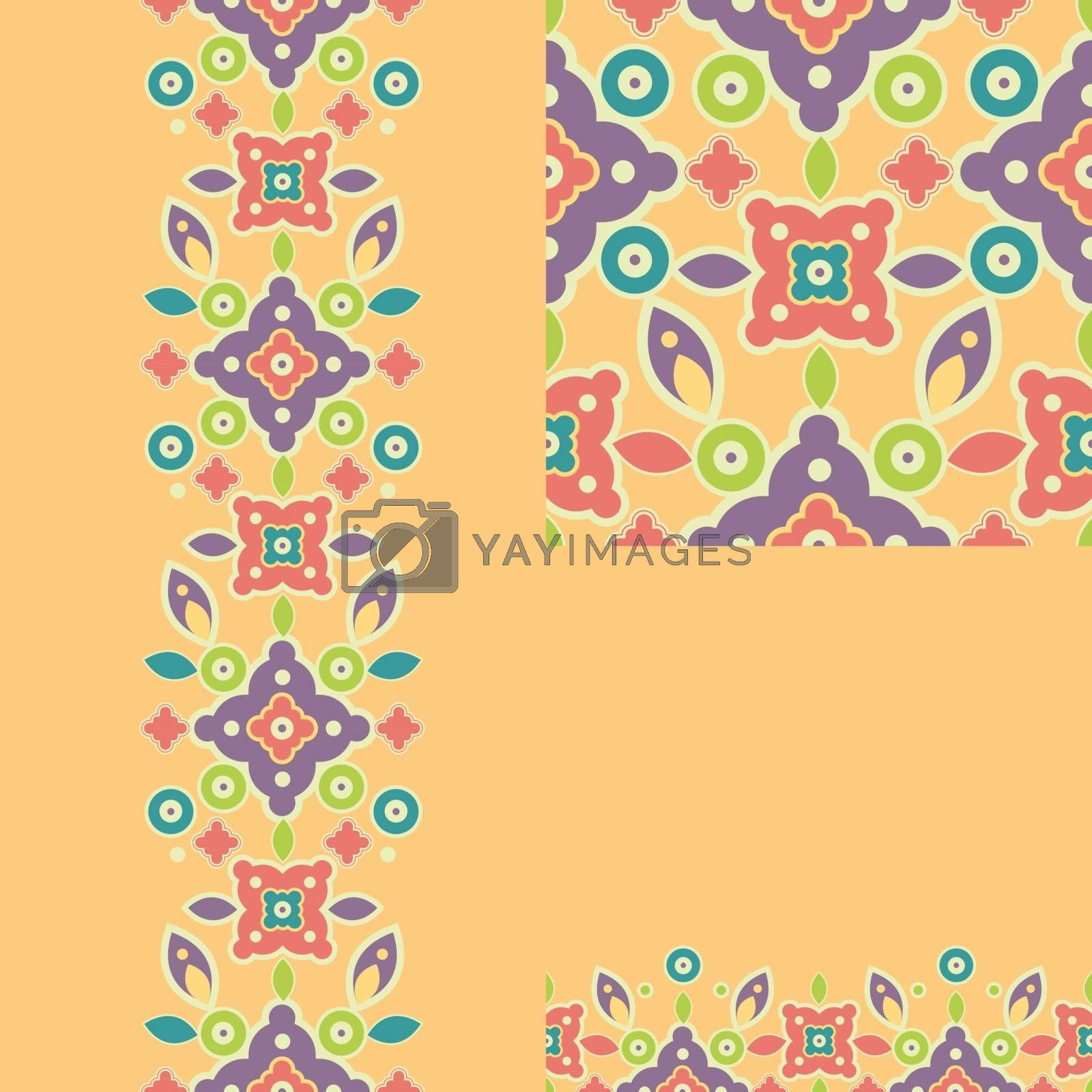 Set of geometric seamless pattern and borders backgrounds with hand drawn elements.