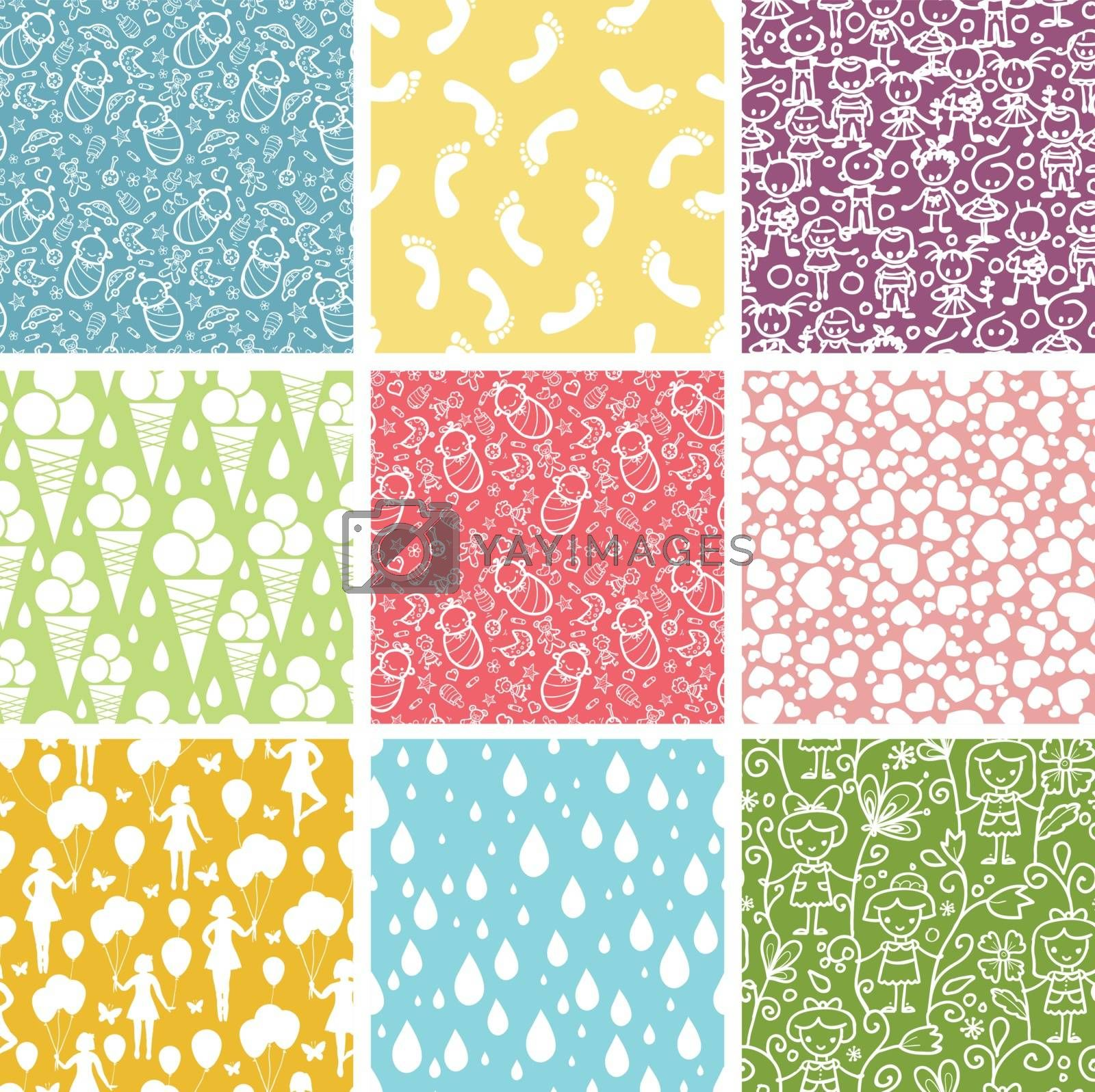 vector set of nine kiddie things seamless patterns backgrounds with hand drawn elements.