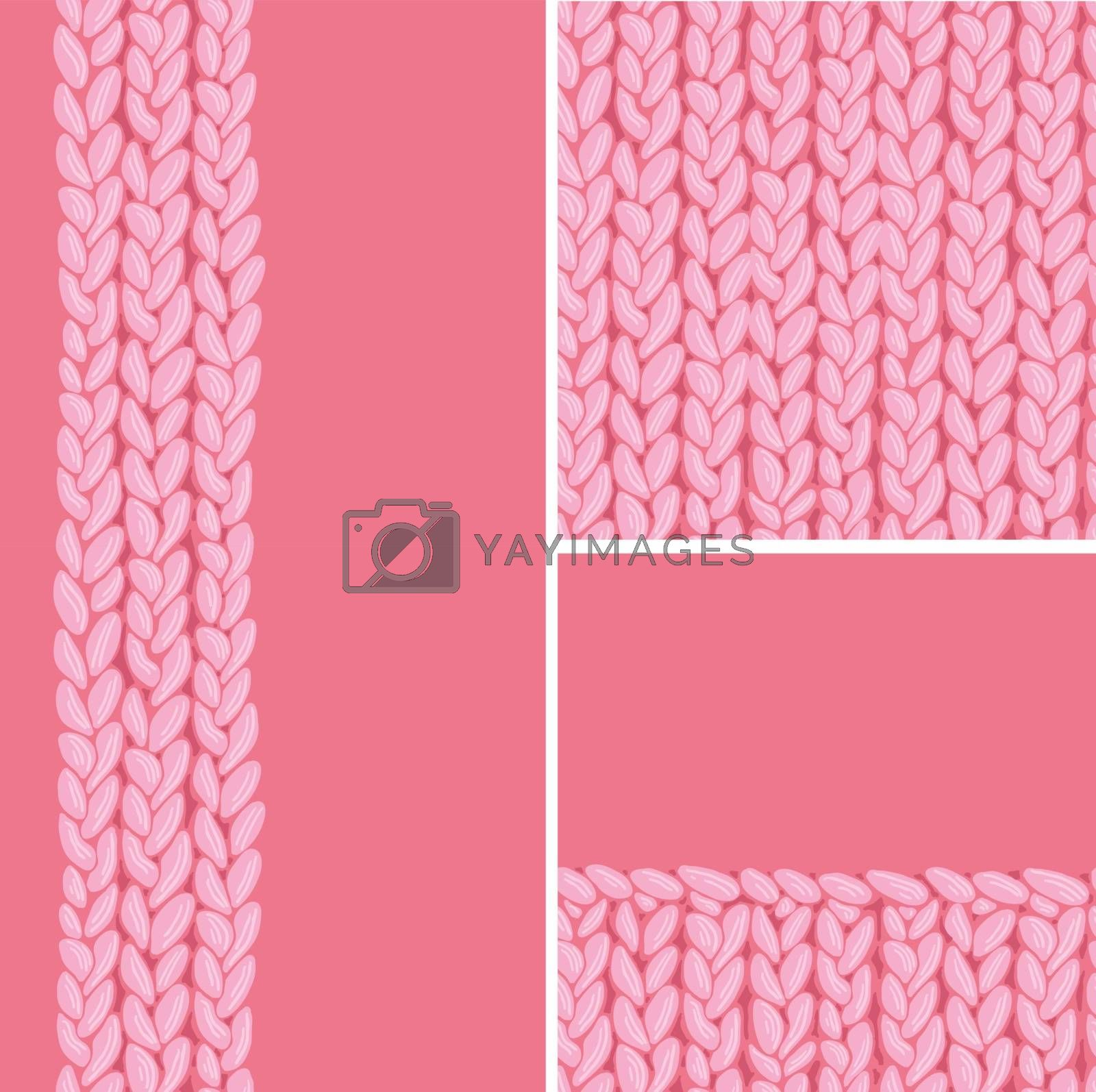 Vector pink set of three knit textile seamless patterns and backgrounds with hand drawn elements