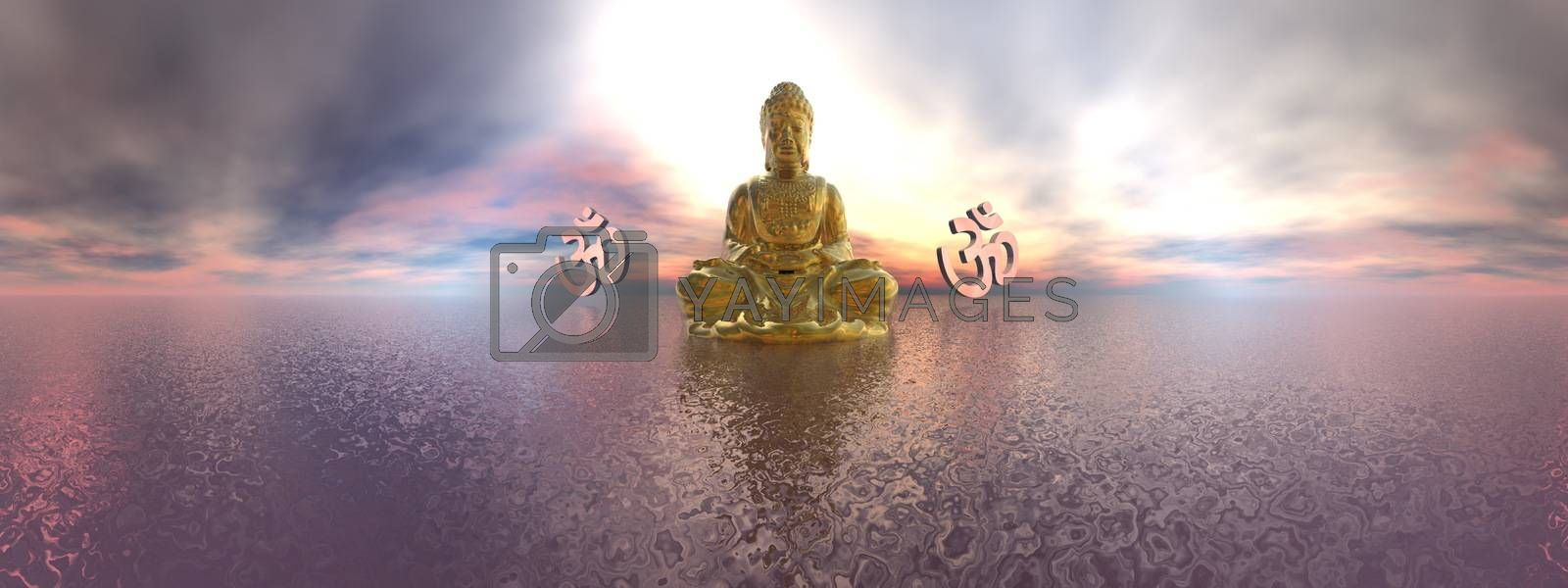 Buddha and aum symbol upon ocean by colorful sunset, 360 degrees effect - 3D render