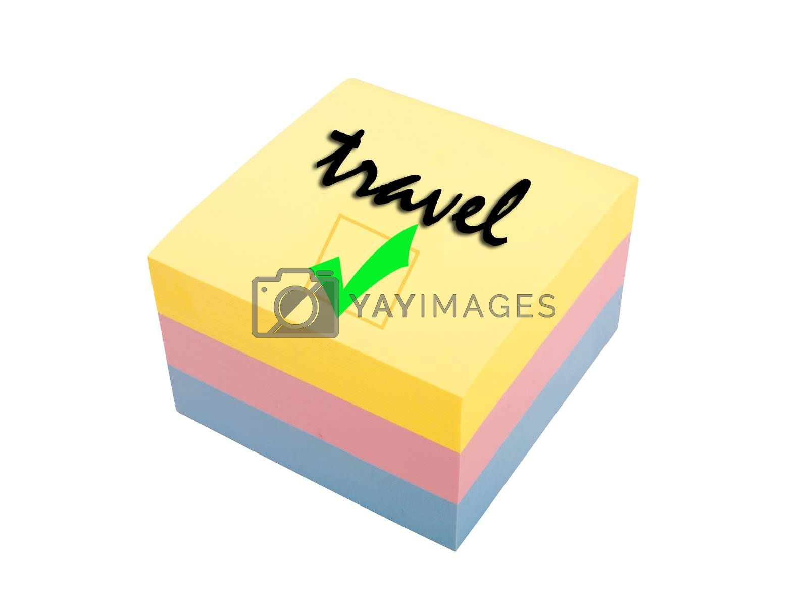 three color block of post it notes, travel reminder