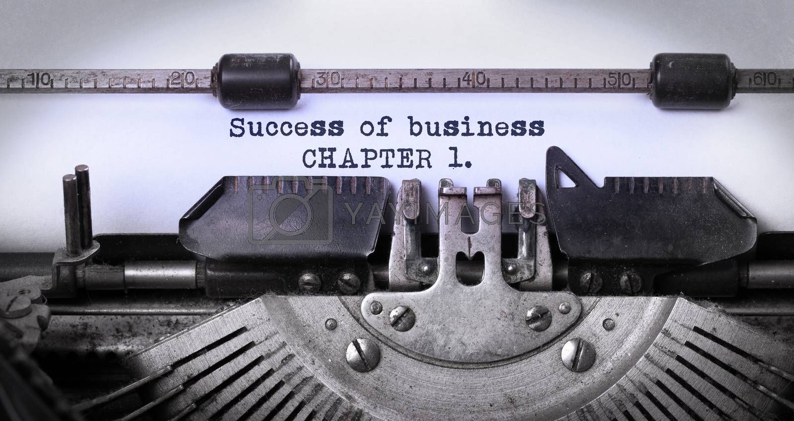 Vintage inscription made by old typewriter, success of business, chapter 1