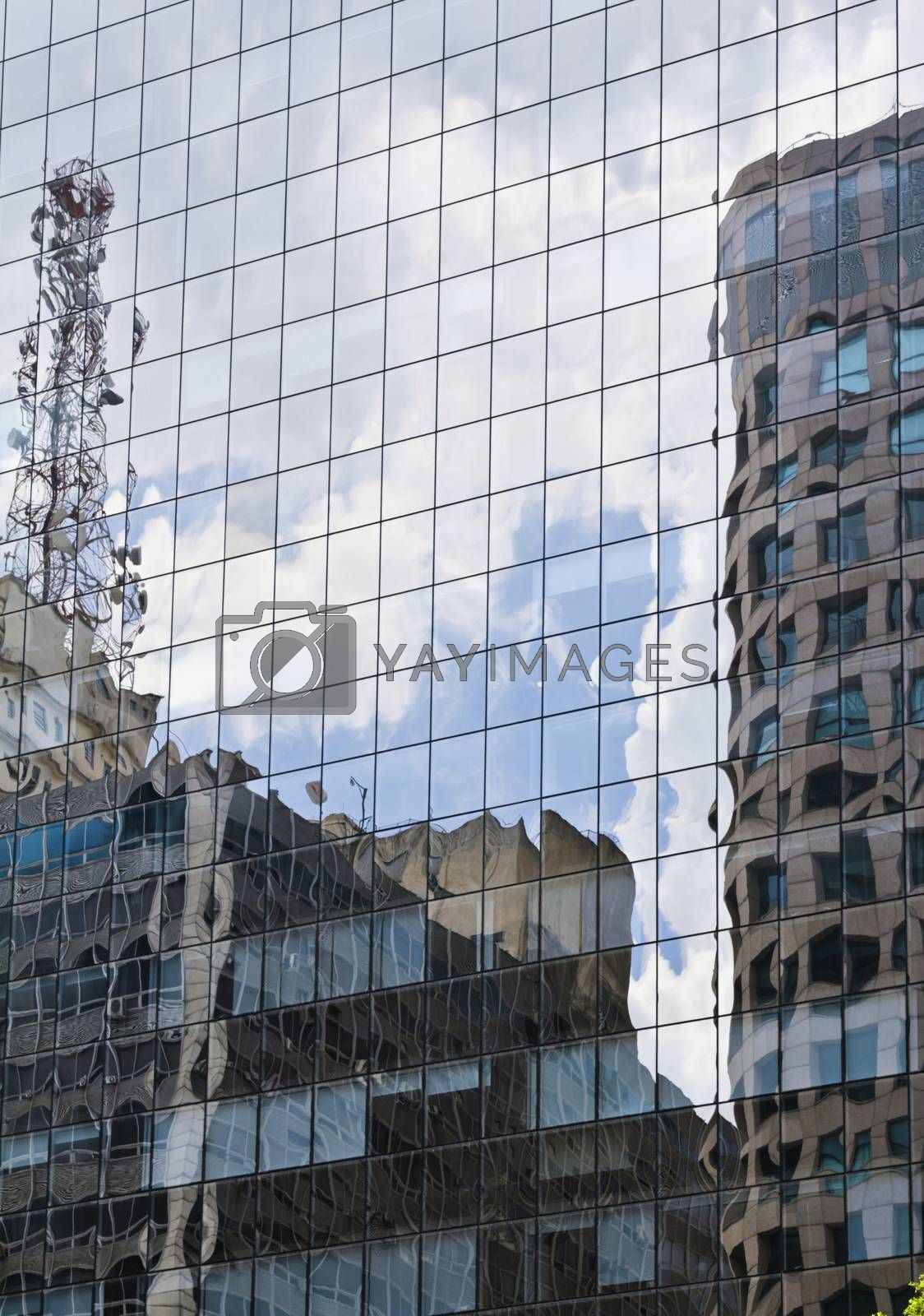 Modern building with glass facade in blue