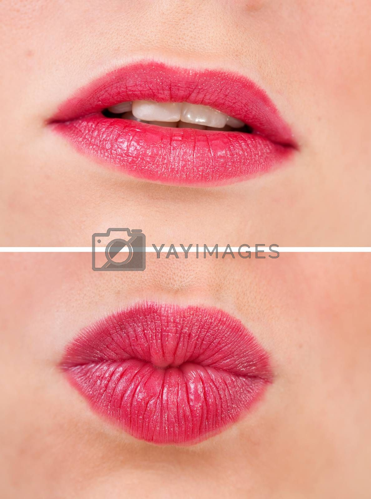 two photos of red  mouth from young women