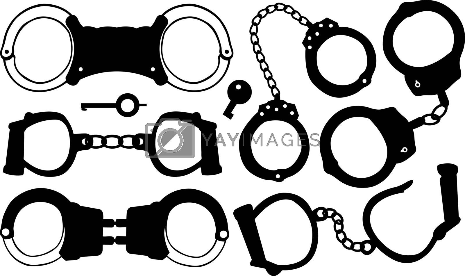 set of different handcuffs isolated